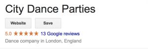 City Dance Parties Google Review